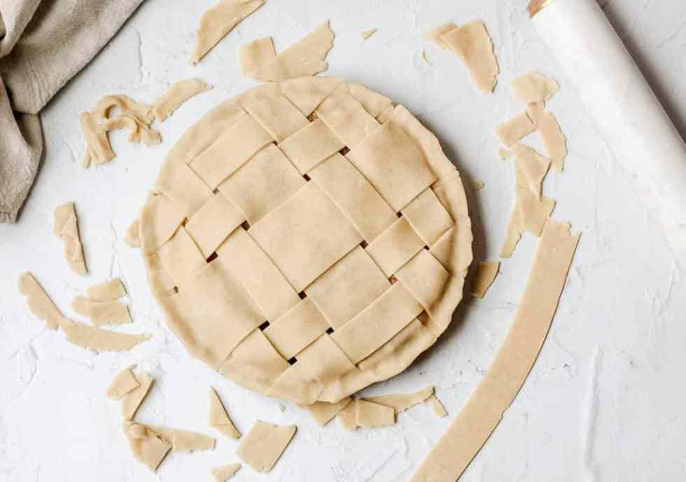 lattice crust on apple pie before baking