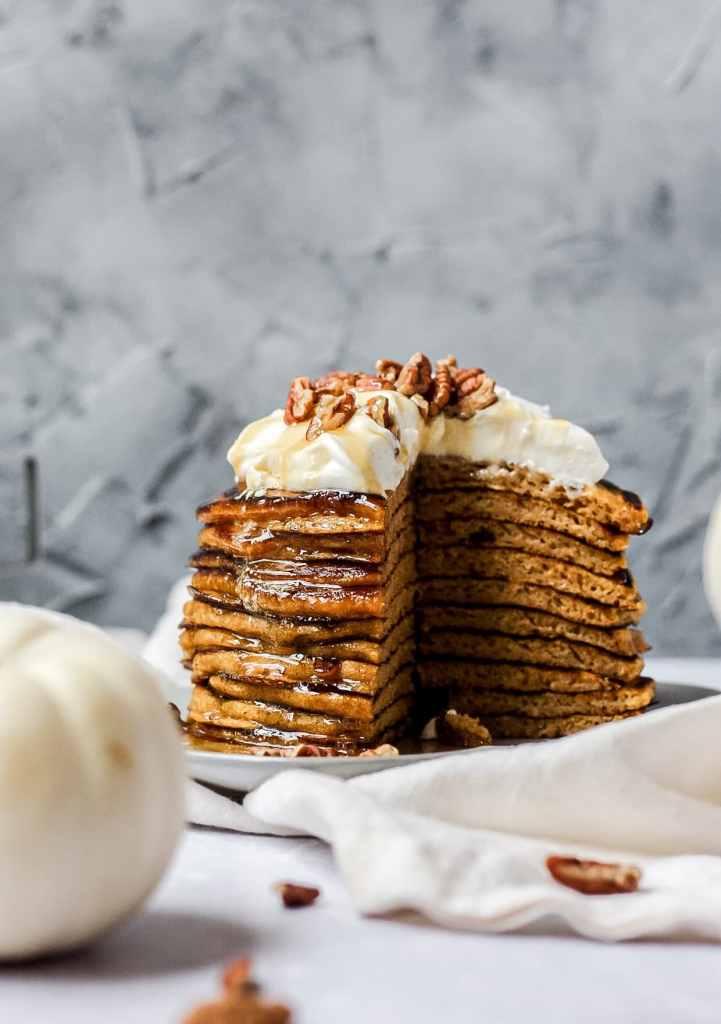 close up shot stack of sourdough pumpkin pancakes