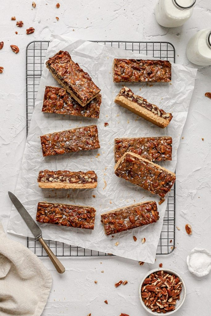brown butter pecan pie cookie bars with medjool dates