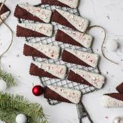 chocolate peppermint shortbread cookies dipped in white chocolate