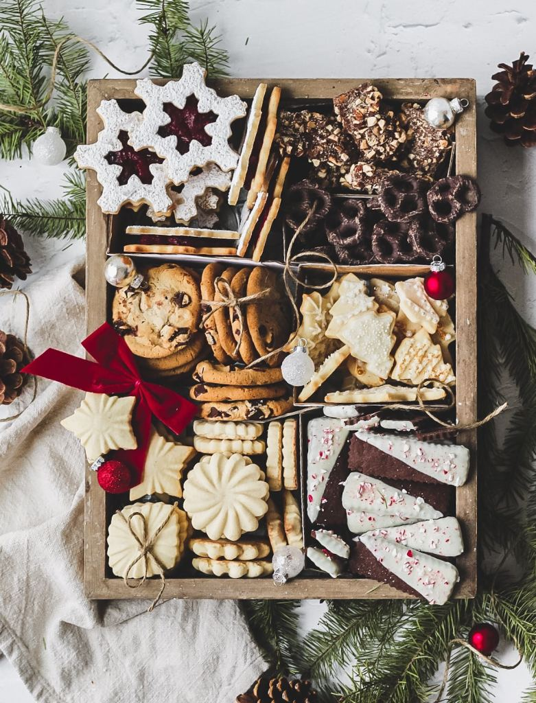 christmas cookie box with seven types of christmas cookies