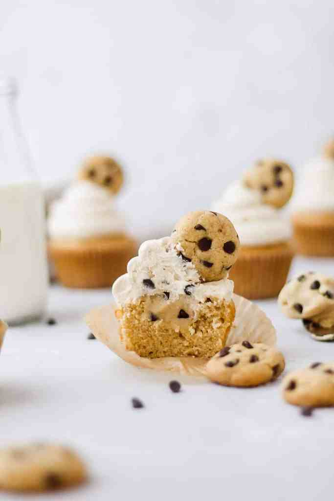 cross-section of brown butter chocolate chip cookie dough cupcakes