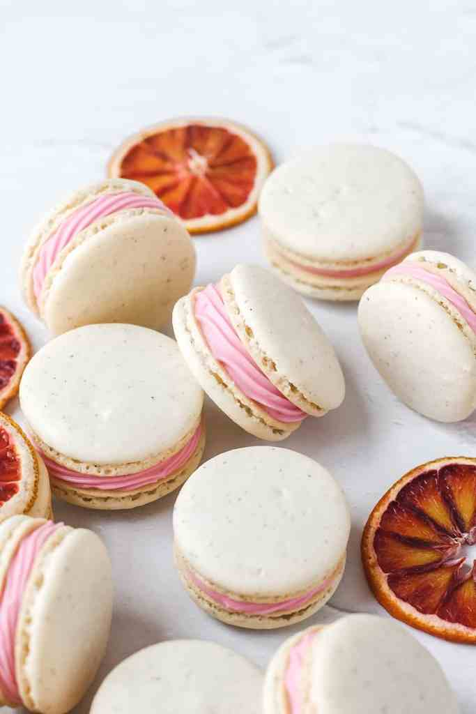cardamom blood orange macarons from the side