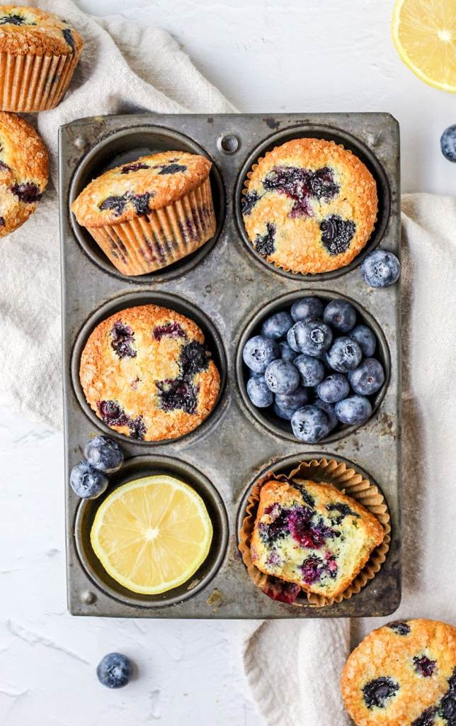 brown butter lemon blueberry muffins