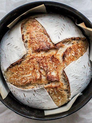 homemade sourdough bread in dutch oven
