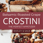 balsamic roasted grape crostini pin