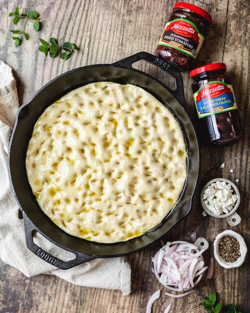 Mediterranean focaccia before baking