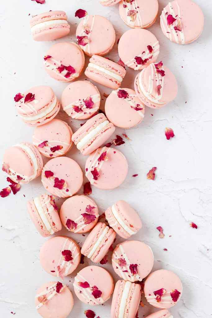 white chocolate rose macarons with dried rose petals