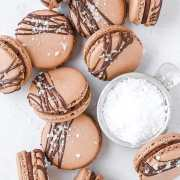dark chocolate sea salt macarons with flaky sea salt