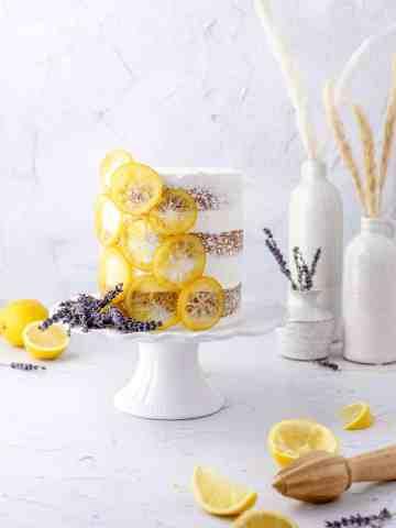 lemon lavender layer cake with lemon curd