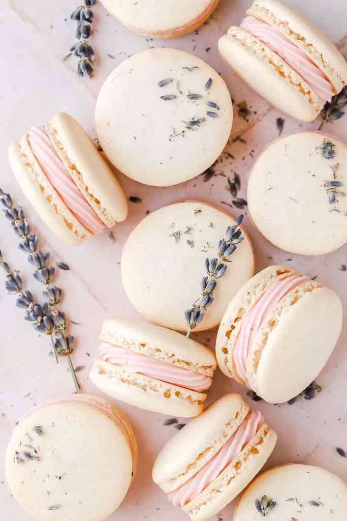 close up of blackberry lavender macarons