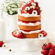 strawberry shortcake layer cake with fresh strawberries