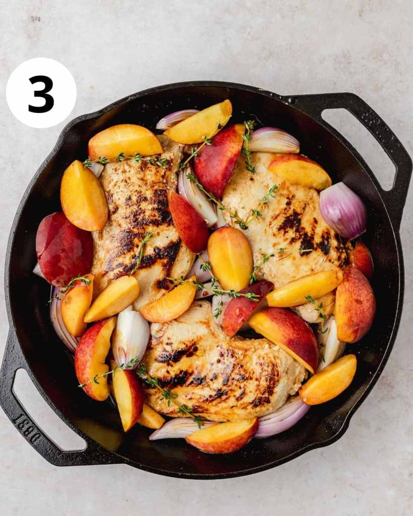 chicken and peaches before roasting