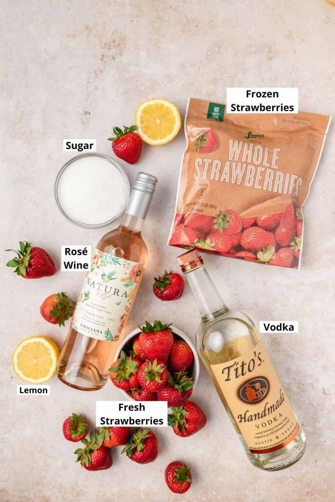 labeled shot of strawberry frosé ingredients