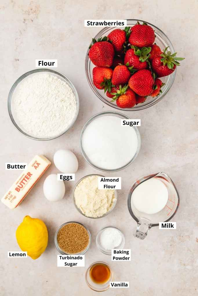 labeled shot of strawberry muffin ingredients
