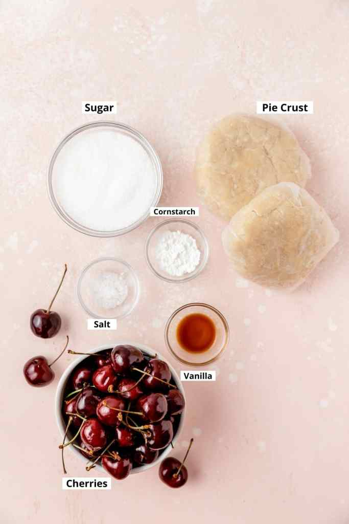 labeled shot of cherry pie ingredients