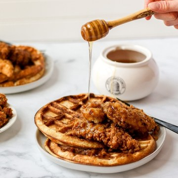 close up shot of sourdough chicken and waffles
