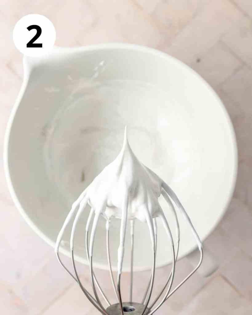 egg whites whipped to form stiff peaks