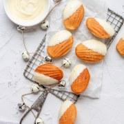 close up shot of white chocolate madeleines