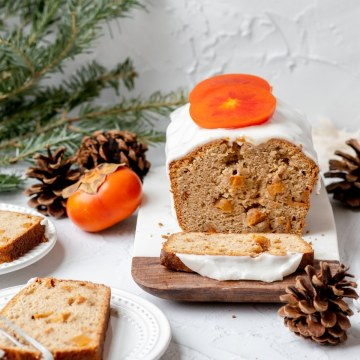close up shot of persimmon loaf cake