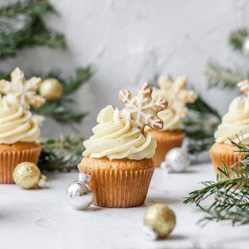 close up shot of eggnog cupcakes