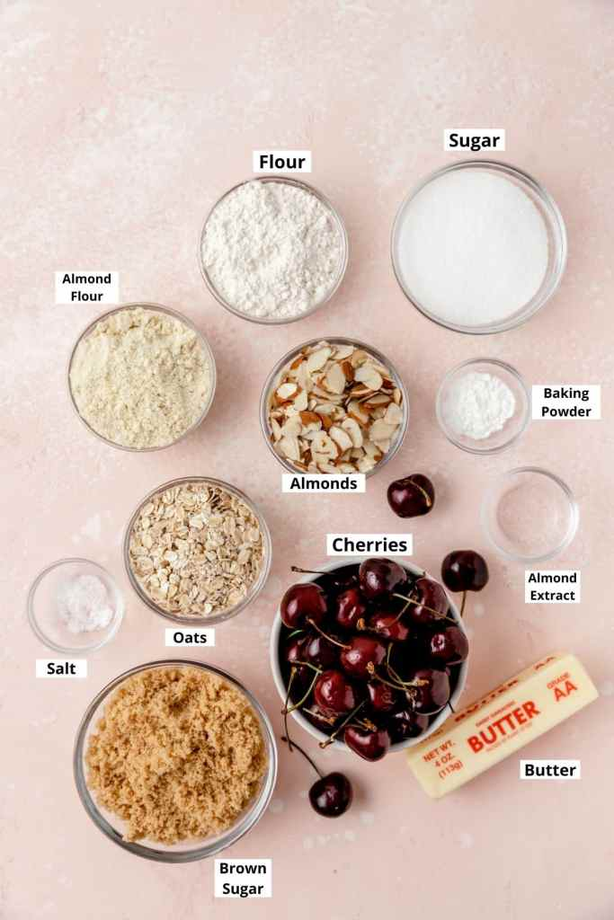 labeled shot of cherry almond crisp ingredients