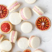 close up shot of blood orange macarons