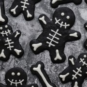 black cocoa skeleton cookies close up