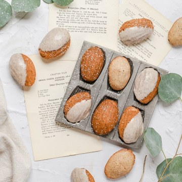 close up of brown butter chai madeleines