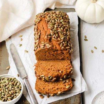 close up shot of sourdough pumpkin bread