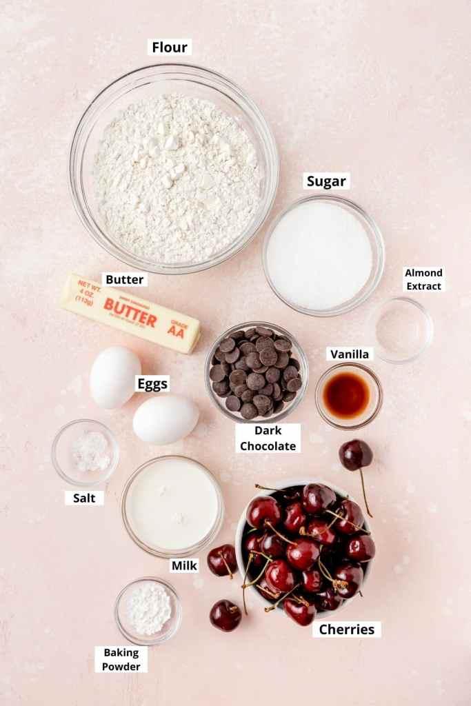 labeled shot of dark chocolate cherry muffins ingredients