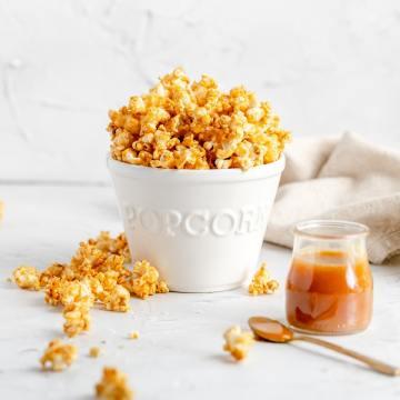 big bowl of salted caramel popcorn