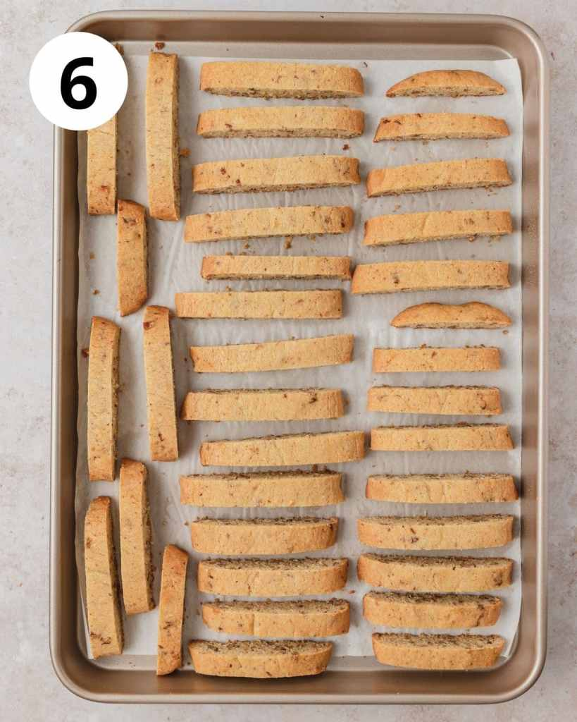 sliced biscotti before second bake