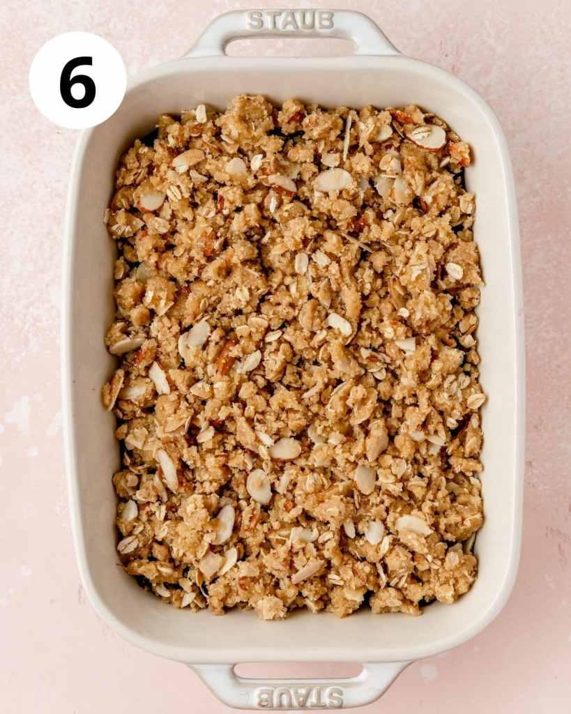 cherry almond crisp before baking