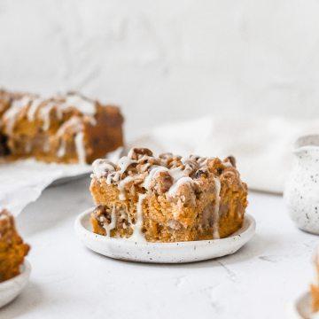 close up of brown butter pumpkin coffee cake