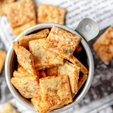 close up shot of cheesy sourdough crackers
