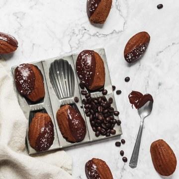 close up shot of chocolate espresso madeleines