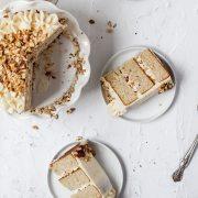 close up shot of hazelnut layer cake