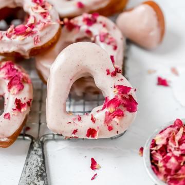 close up shot of heart shaped sourdough donut