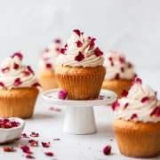 close up shot of rose cupcakes