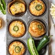 close up shot of jalapeno cheddar cornbread muffins