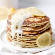 close up shot of lemon poppy seed sourdough pancakes