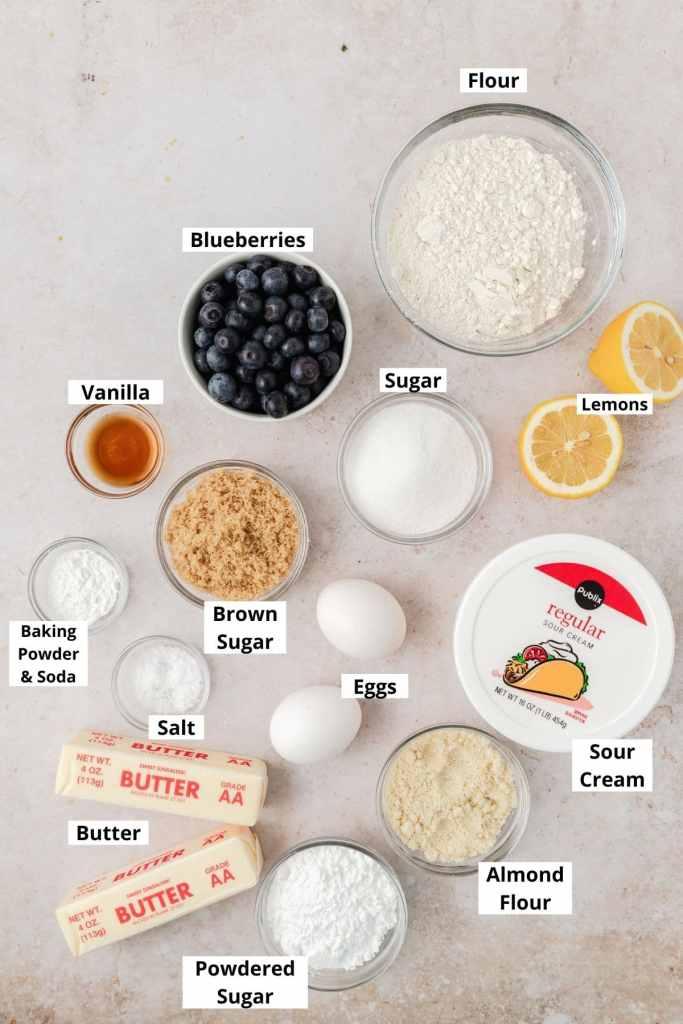 labeled shot of blueberry bundt cake ingredients