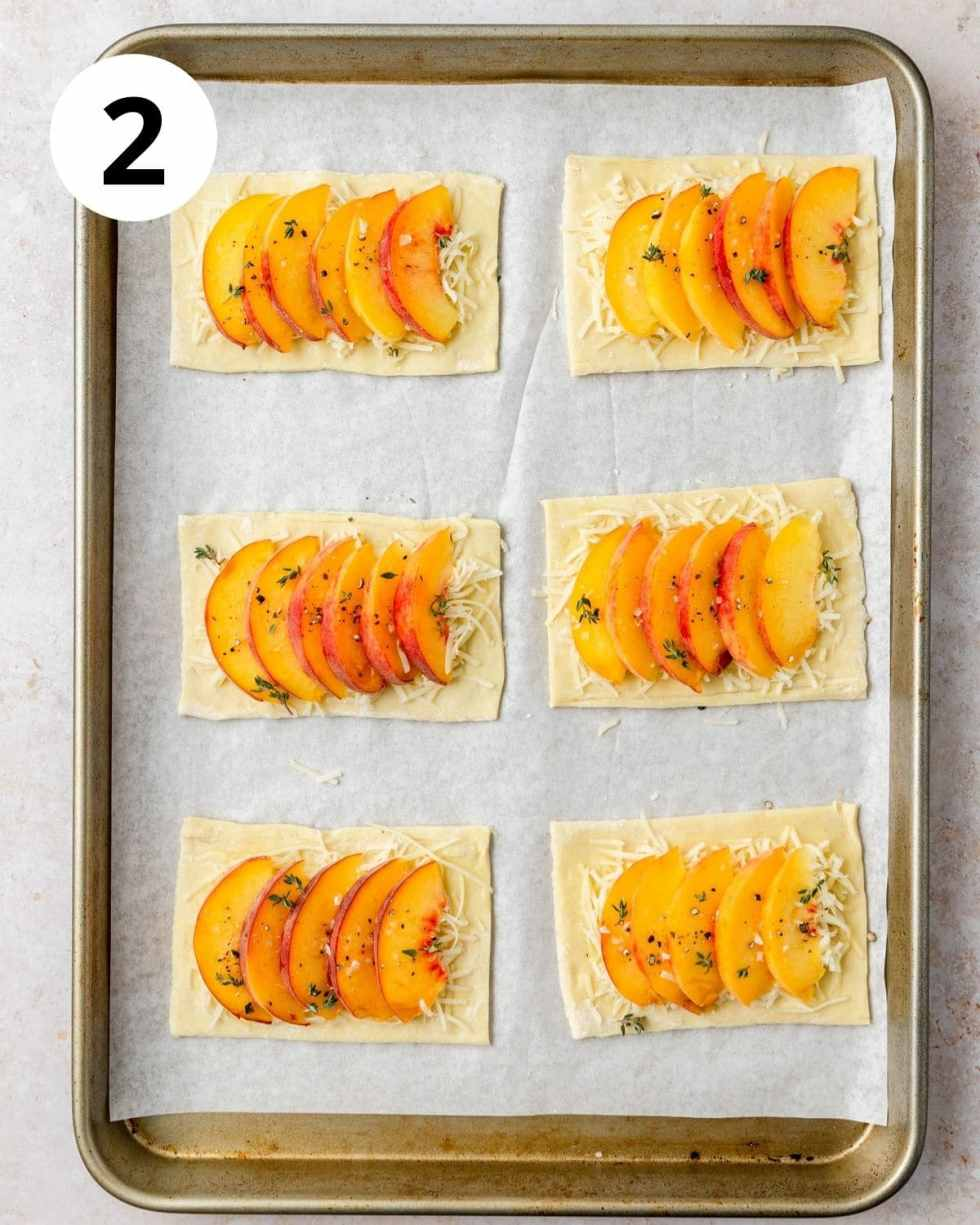 puff pastry with cheese and sliced peaches