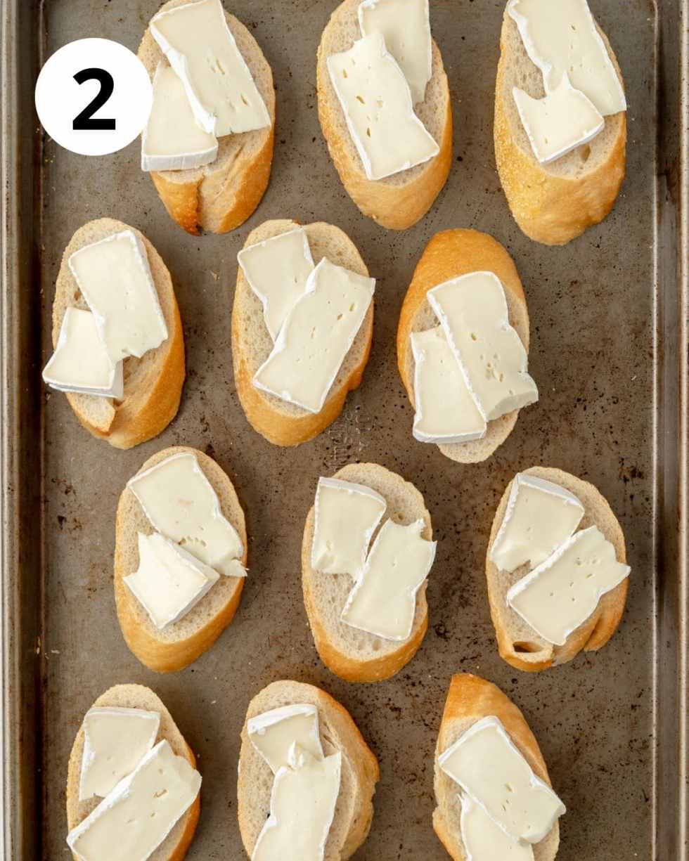 brie on top of slices of bread