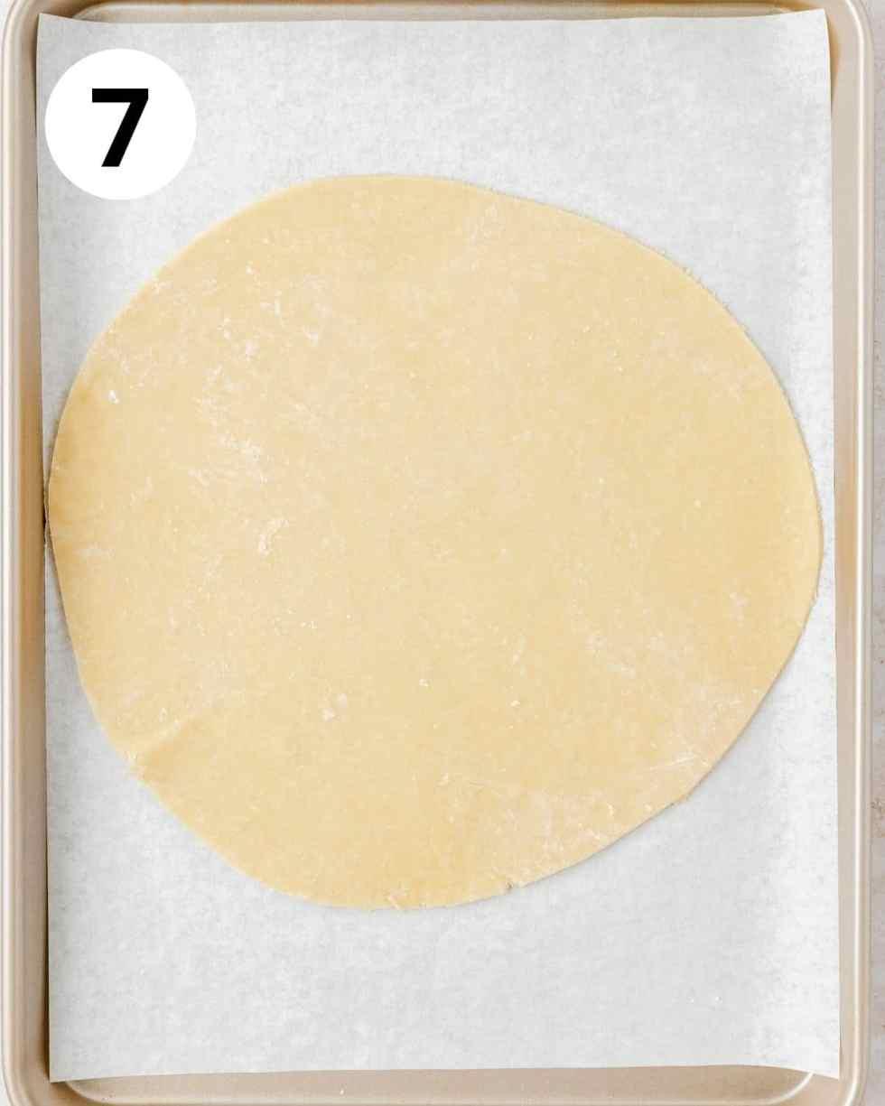 pie dough on baking sheet