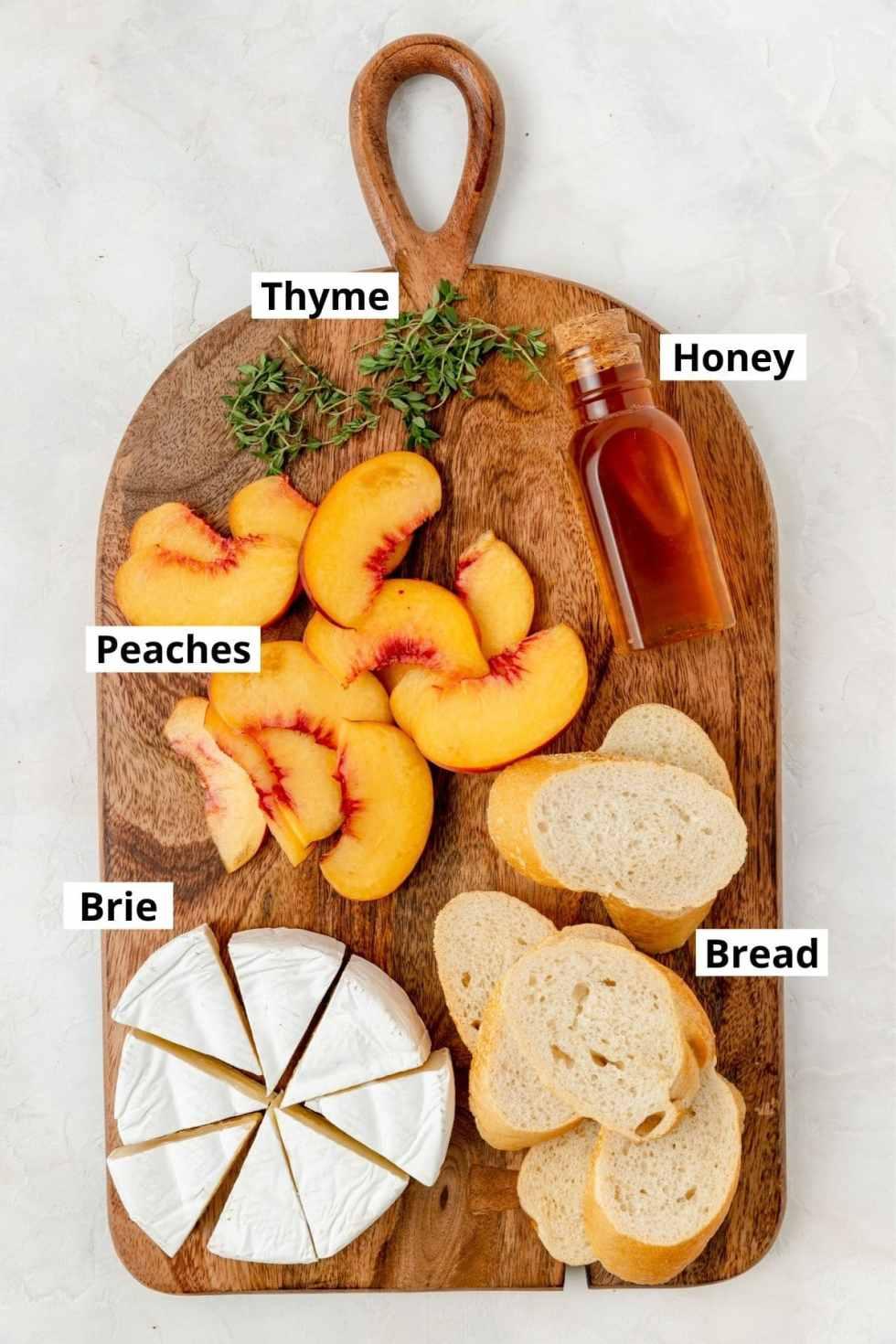 labeled shot of peach crostini ingredients