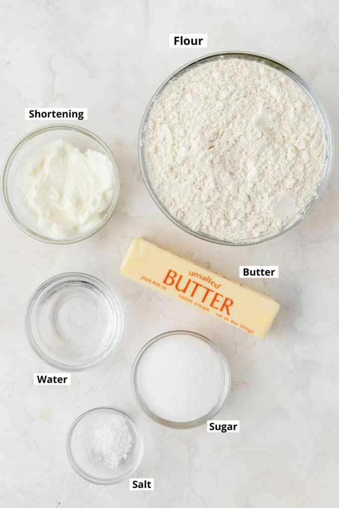 labeled shot of galette crust ingredients