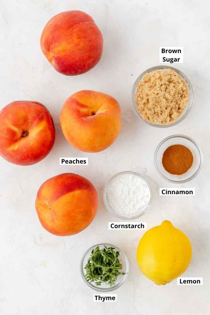 labeled shot of peach filling ingredients