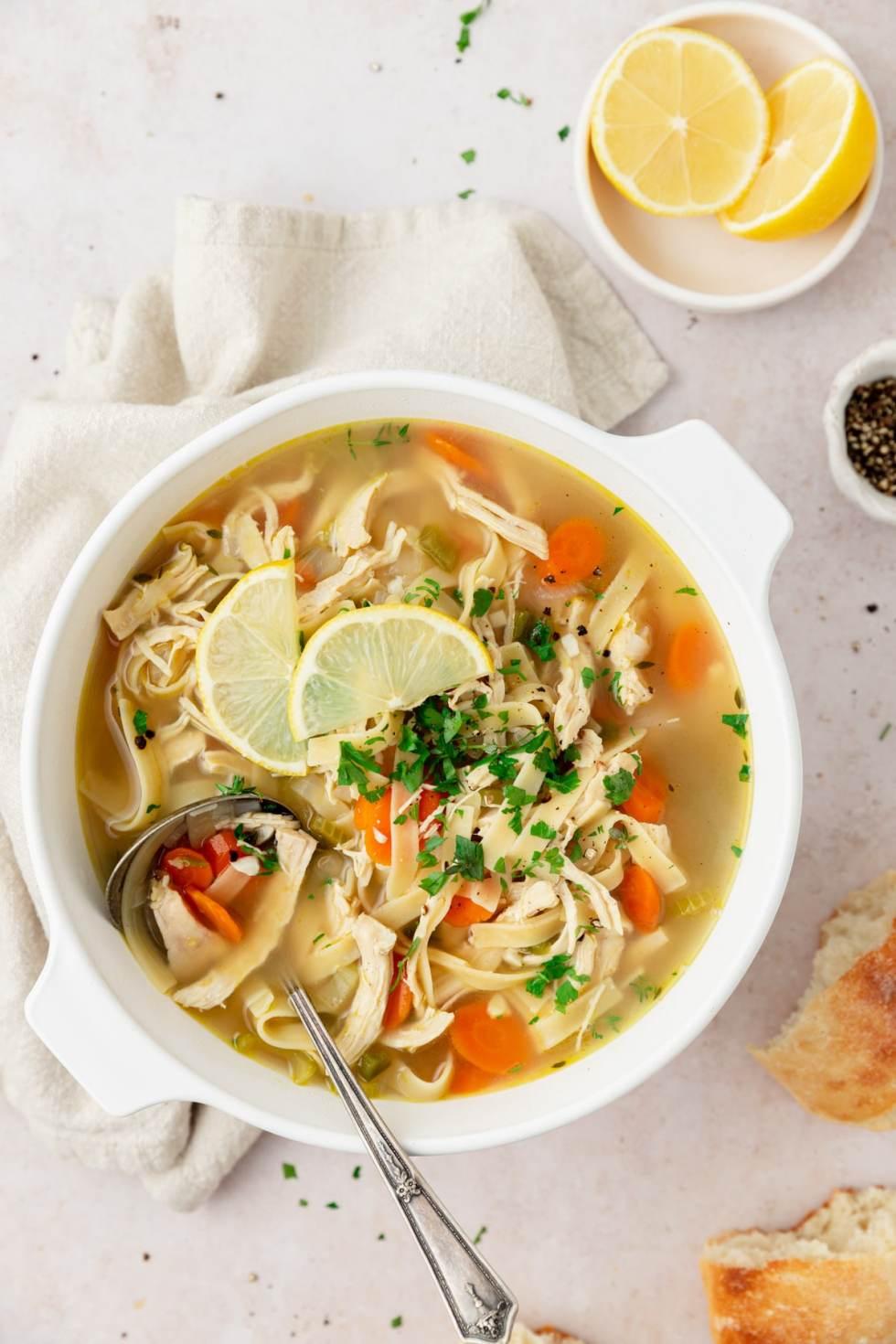 large pot of chicken noodle soup